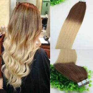 12AA RUSSIAN TAPE IN HAIR Extensions 6#/613# BALAYAGE OMBRE 40Pcs 100g STRAIGHT
