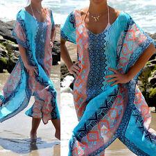 Women Girl Casual Summer Chiffon Boho Floral Party Beach Long Maxi Dress Fashion