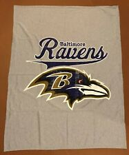 BALTIMORE RAVENS THROW BLANKET GRAY PURPLE WHITE GOLD NFL FOOTBALL MARYLAND