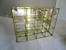 Glass and Brass 12 SLOT Shelves Curio Display Case / Wall Hanging Vintage 11.5x9
