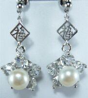 Freshwater Pearl&Zircon Earring Drop Stud Long Dangle Drop Jewelry