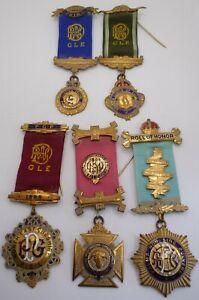 MASONIC RAOB GLE BUFFALOES GROUP OF 5 MEDALS / JEWELS INTEGRITY LODGE NO 1195