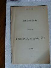 New listing Confederate Imprint 1861 Communication Relative to Reprieves, Pardons Virginia
