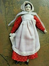 Vintage Bisque/Porcelain Hand Painted Doll in Red Dress, Bonnet, Apron, Clean!