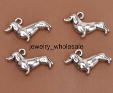 15pcs Tibetan Silver Charms Dachshund Dog Pendants 19x12mm D3122