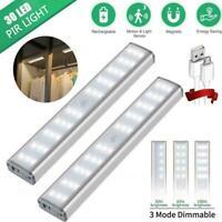 30 LED Motion Sensor Closet Night Light Under Cabinet USB Lamp Rechargeable I5E8