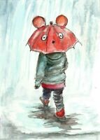 ACEO Rain kid umbrella painting watercolor art card
