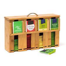 Relaxdays Scatola Porta Tè con 4 scompartimenti Bambù Marrone 9
