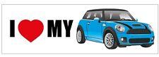 Mini Car New Collectible Sticker - I Love My Mini - Blue