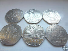 6 COMMEMORATIVE 50p COINS SCOUT LIBRARIE DICTIONARY VICTORIA CROSS 4 MINUTE MILE