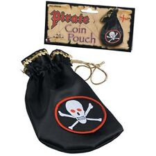Pirate Coin Pouch Black Skull Crossbones Caribbean Halloween Costume Accessory