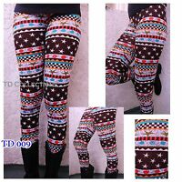 New Winter Aztec Tribal Print High Waist Soft Knitted Leggings  Pants SML