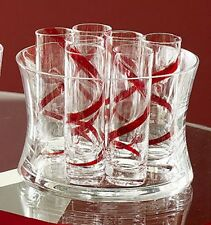 6 TALL SHOT GLASSES & ICE BUCKET, RED SPIRAL, GLASS, NEW