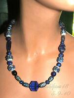 ART DECO BLUE ~CZECH ART GLASS~ BEADED STRAND NECKLACE