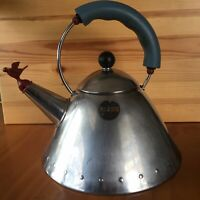 ALESSI Tea Kettle Michael Graves Red Bird Whistle Made In Italy INOX 18/10