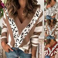 Women's Fashion V-neck Striped Pullover Loose Sweater Women's Top. I9D9