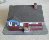 Vintage 1970s HO Scale Contemporary Blue Red House Building LOOK