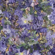Fairies Nite Night Fairies Allover Metallic Cotton Quilting Fabric 1/2 YARD