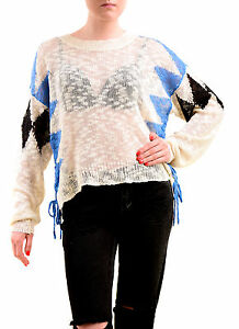 Wildfox Women's NBW Checkmate Sweater Natural Ground Size S RRP £155 BCF75