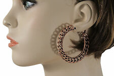 Women Earring Set Fashion Bronze Thick Chain Hook Links Large Hoop Urban Hip Hop