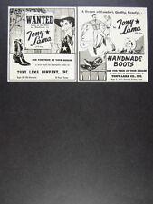 1954 Tony Lama Handmade Boots cowboy sheriff art 2 vintage print Ads