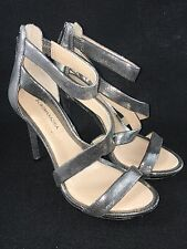 BCBG MAXAZRIA Leemour Leather Sandal Silver Metallic Platform Heels 7.5 M