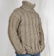 Hand Knitted ALPACA WOOL  VERY SOFT Pullover Men Sweater Turtleneck thick Jumper