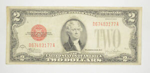 1928-F Red Seal $2 United States Note - Legal Tender - Historic *185