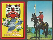 RCMP & BRITISH COLUMBIA CANADA 2 SINGLE SWAP PLAYING CARDS ( NOT DECKS )
