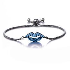 Grey Black Friendship Slim Thin Blue CZ Rhinestones Lips Fiji Slider Bracelet