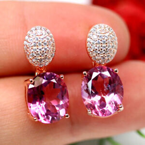 NATURAL 10 X 12mm. PINK MYSTIC TOPAZ & WHITE CZ EARRINGS 925 SILVER STERLING