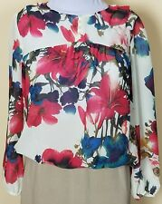 Blouse Button Yoke Long Sleeve Cream Rose Blue Purple Floral Petite Large PL EUC