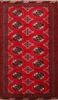 Traditional Geometric Bokhara Oriental Red Area Rug Hand-Knotted WOOL Carpet 4x6