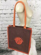 "Tote Bag Paper Jute Brown Orange Spiral 16"" X 14"""