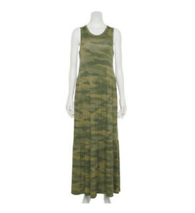 Juniors SO Tank Tiered Long Maxi Dress M Rayon Spandex Camo Camouflage NEW $40