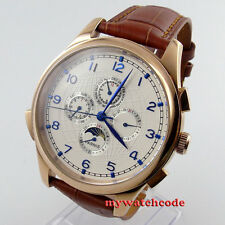 44mm parnis white dial blue marks golden case multifunction automatic mens watch