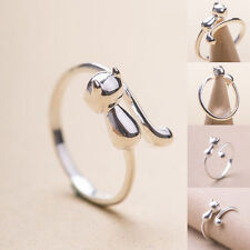 925 Silver FilledRings Cute Kitten Cat Long Tail Adjustable Wrap Opening Jewelry