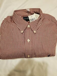 Ralph Lauren Yarmouth Red/White Check Long-Sleeve Oxford Size 17/34-35 NWT
