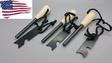 3 Ferro Rods  Fire Starter Survival FireSteel  w/lanyard & striker/scraper rod