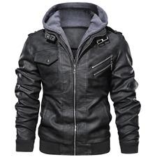 Men's Slim Fit Outwear Black Leather Jacket Zipper Hooded Motorcycle Coats Biker