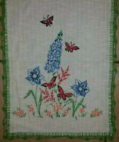 Vtg Embroidered Floral Butterfly Table Runner Dresser Scarf w Crochet Edge Blue