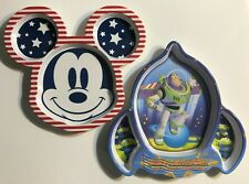 Divided Baby Toddler Feeding Dishes Set of Two - Mickey Mouse and Buzz Lightyear