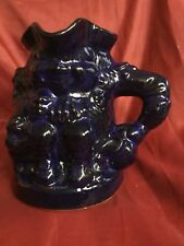 Vintage Cobalt Blue Glazed Toby Character Jug