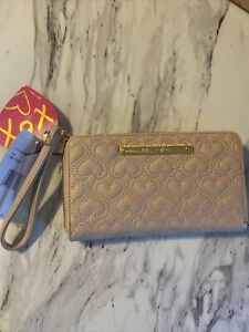 Betsey Johnson Zip Around Wallet Wristlet in Quilted Pink NEW $48