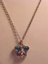 """Butterfly Necklace Aqua and Pink Butterfly Pendant Silver Cable Chain 18"""""""