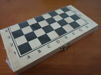 Portable chess wood pieces and board-simply version with wood foldable box board