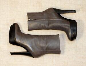 1500$ LOUIS VUITTON LV grey leather high heel platform booties 36-37 us6 uk3.5-4