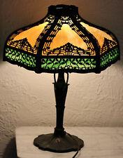 ANTIQUE 12 PANEL BENT SLAG GLASS TABLE LAMP with OVERLAY - HANDEL B&H ERA