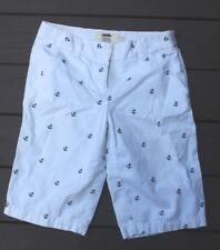 "J Crew 2 Classic Twill Chino White Anchor Print Bermuda Long Shorts 12.5"" Inseam"