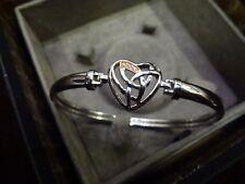 NEW Genuine Clogau Sterling Silver & Rose Gold Heart bracelet bangle BNIB.